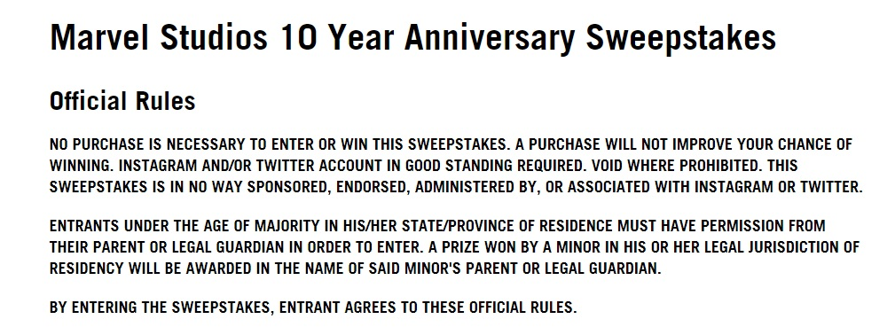 Marvel Studios 10 Year Anniversary Sweepstakes - Enter To Win Trip