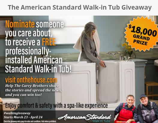 The American Standard Walk-in Tub Giveaway – Chance to Win A $500 VISA Gift Card
