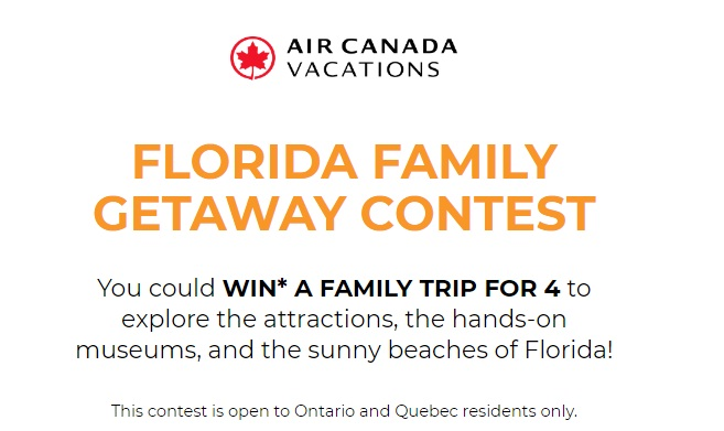 Air Canada Vacations Florida Family Getaway Contest - Win A Trip To Fort Lauderdale, Florida