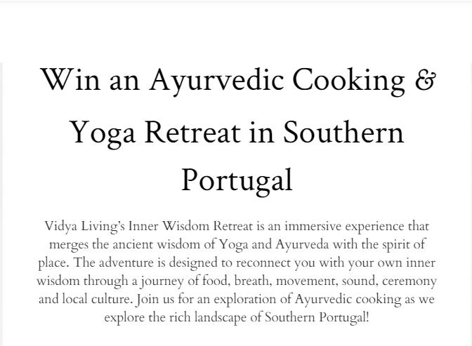 Ayurvedic Cooking & Yoga Retreat Giveaway