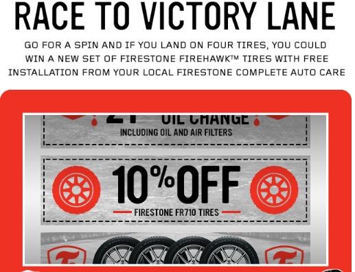Race To Victory Lane Sweepstakes - Win 4 Firestone Firehawk Tires