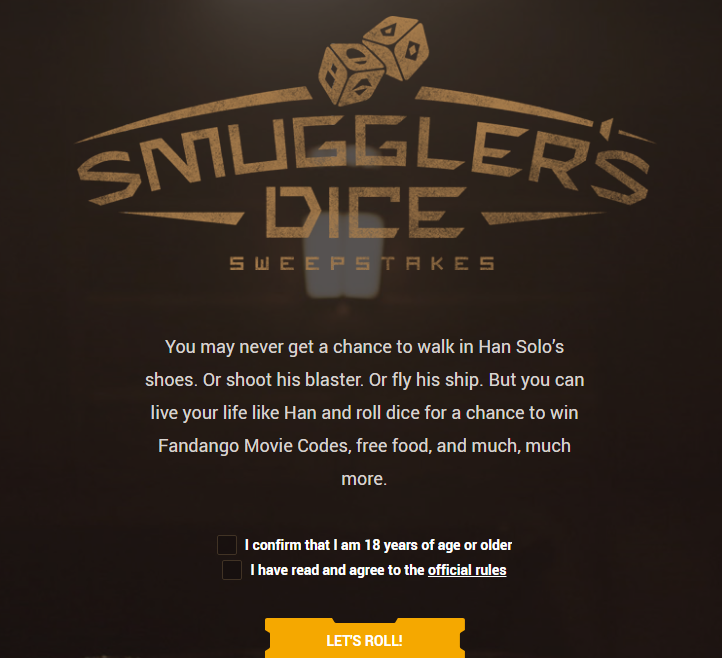Smuggler Dice Sweepstakes