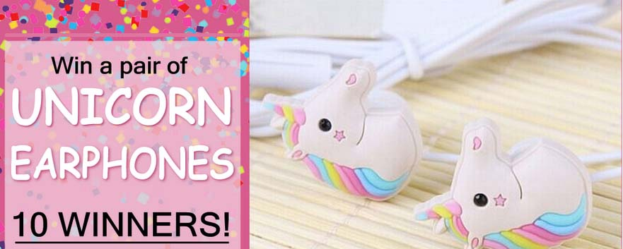 Rainbow Unicorn Earphone Giveaway