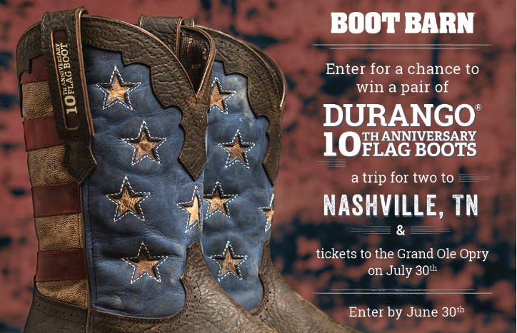 Boot Barn 10th Anniversary Flag Boot Sweepstakes
