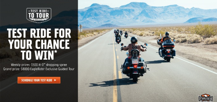 Harley Davidson Test Ride To Tour Sweepstakes