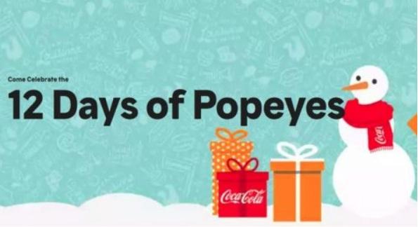 Popeyes Louisiana Kitchen 12 Days Of Popeyes Sweepstakes